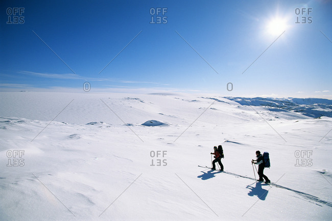 Two cross-country skiers in a snowy landscape