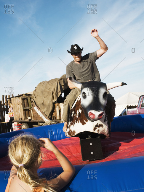 A mechanical bull at an amusement park