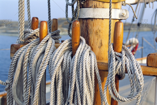 Ropes hanging off a mast