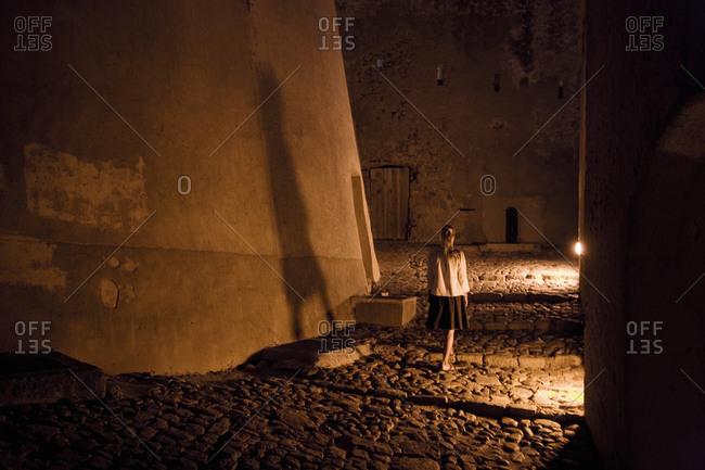 A woman in the citadel of Calvi, Corsica, France