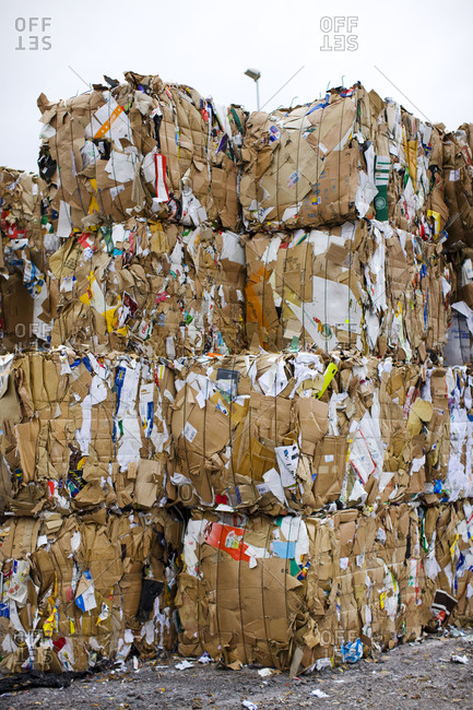 Packs of paper at a recycling center, Sweden