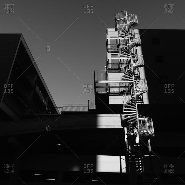 A sunlit staircase on a building at Eriksberg, Gothenburg Sweden.