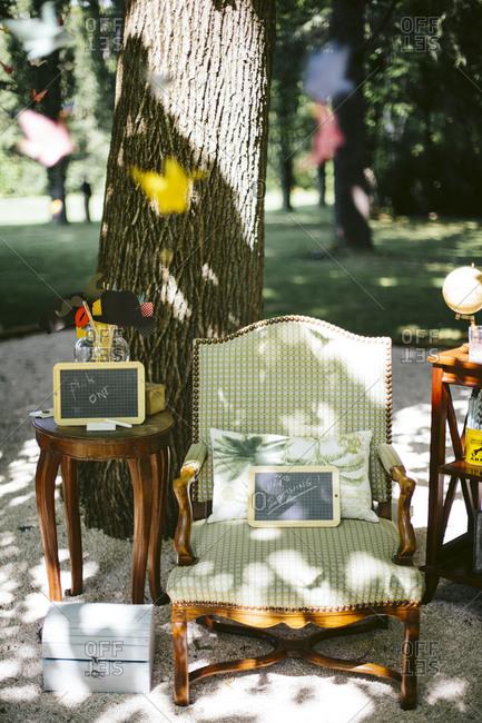 Vintage wedding decorations under a tree
