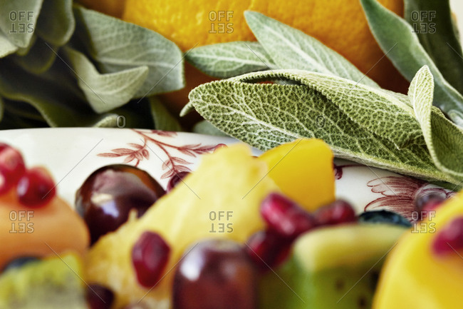 Fruit salad in close up