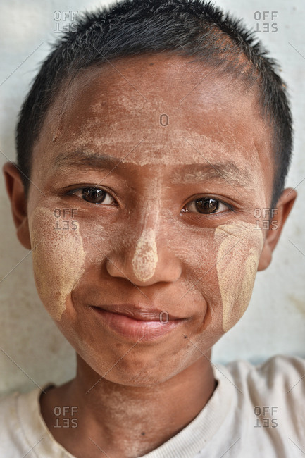 Mandalay, Myanmar - February 28, 2015: Portrait of a Burmese boy