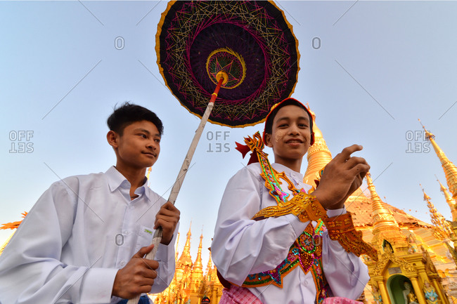Yangon, Myanmar - March 13, 2015: Children during a celebration at Shwedagon Pagoda, Yangon, Myanmar
