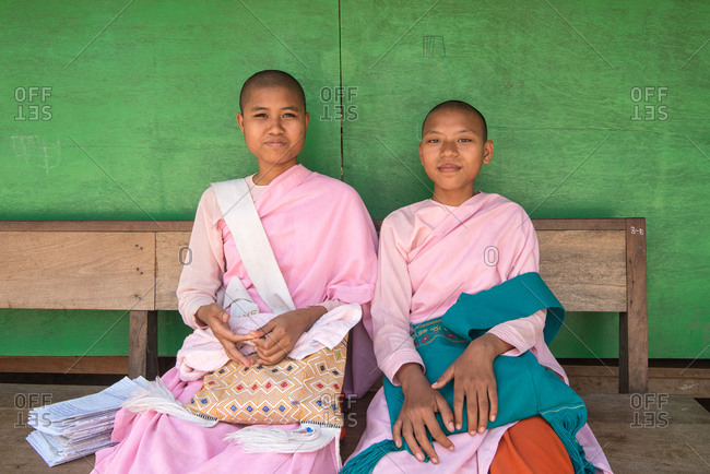 province of Mandalay, Myanmar - March 1, 2015: Portrait of young Buddhist nuns at a school in Myanmar