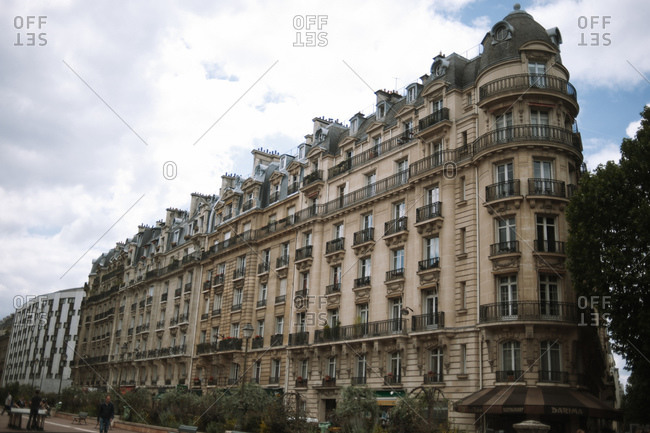 Paris, France - June 23, 2012: Exterior of corner apartment building in Paris