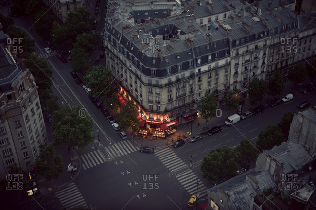 Paris, France - June 23, 2012: Intersection of Parisian street from above