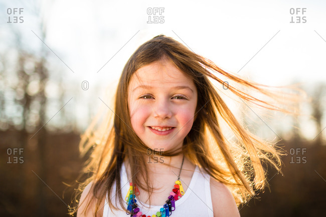 Portrait of girl with messy hair