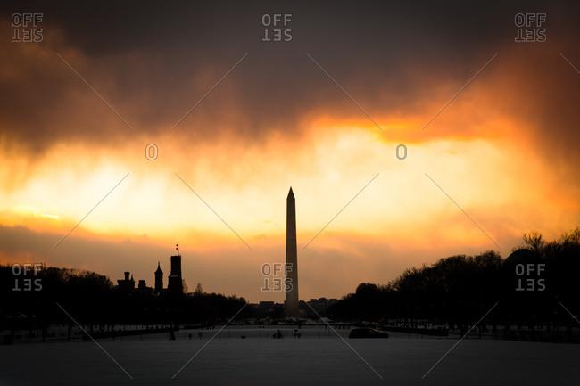 The Washington Monument at sunset