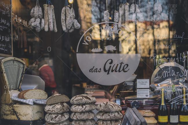 Berlin, Germany - December 30, 2013: Window of a gourmet grocery store in Berlin, Germany