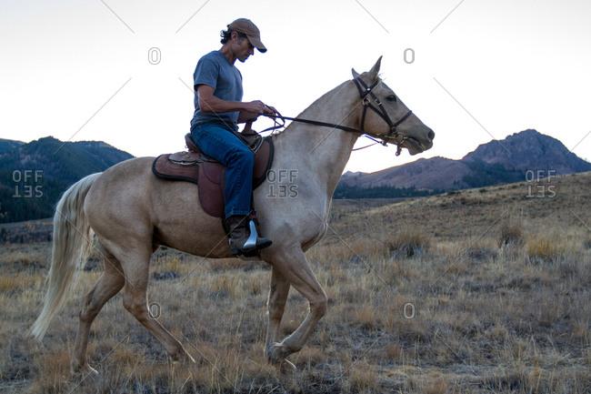 A man and his horse walk through the desert landscape