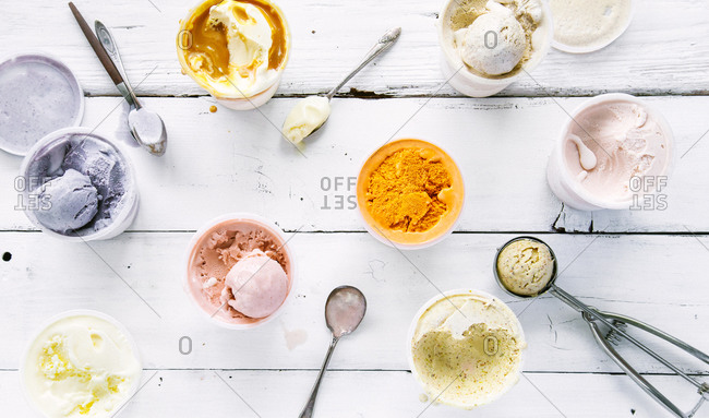 Varieties of ice cream flavors with scoops