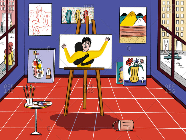 Illustration of an art studio with paintings and a bucket of paint knocked over