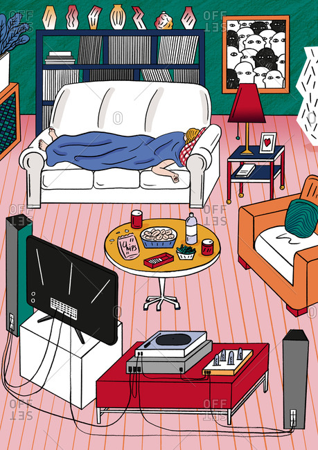 Illustration of a person asleep on couch in living room