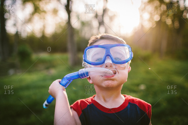 Portrait of a young boy with a scuba mask