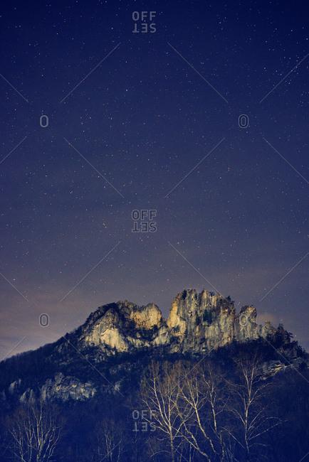 Mountain peak under starry sky in wilderness, Seneca Rocks, West Virginia