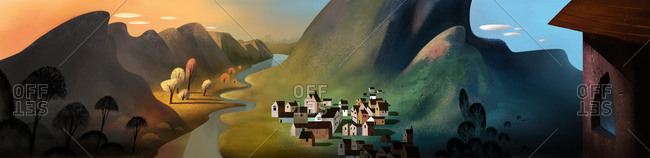 Village set in a mountain valley