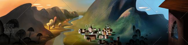 Village set in a mountain valley