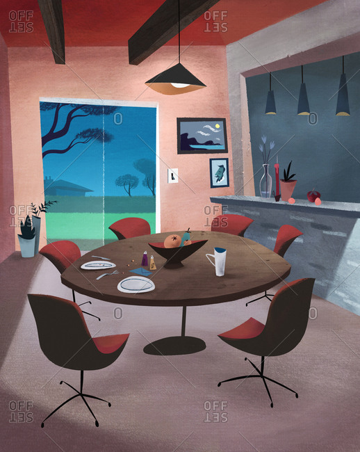 Interior of mid century modern dining room