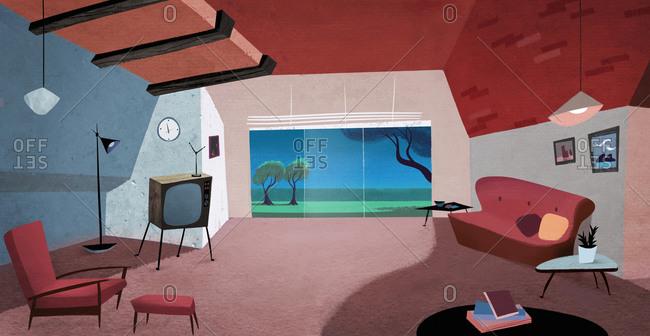 Interior of mid century modern living room