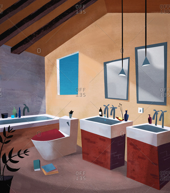 Interior of mid century modern bathroom