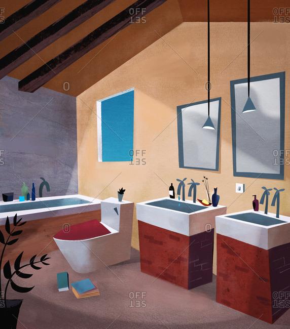 Interior of mid century modern bathroom