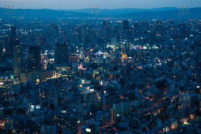 May 10, 2015: Japanese cityscape at night