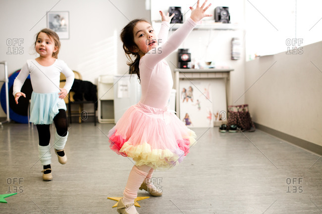 Little girls dancing in a studio