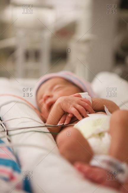 Preterm baby in an incubator