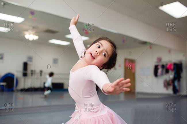 Young girl dancing in a studio