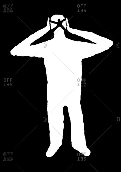 Outline of man covering his ears