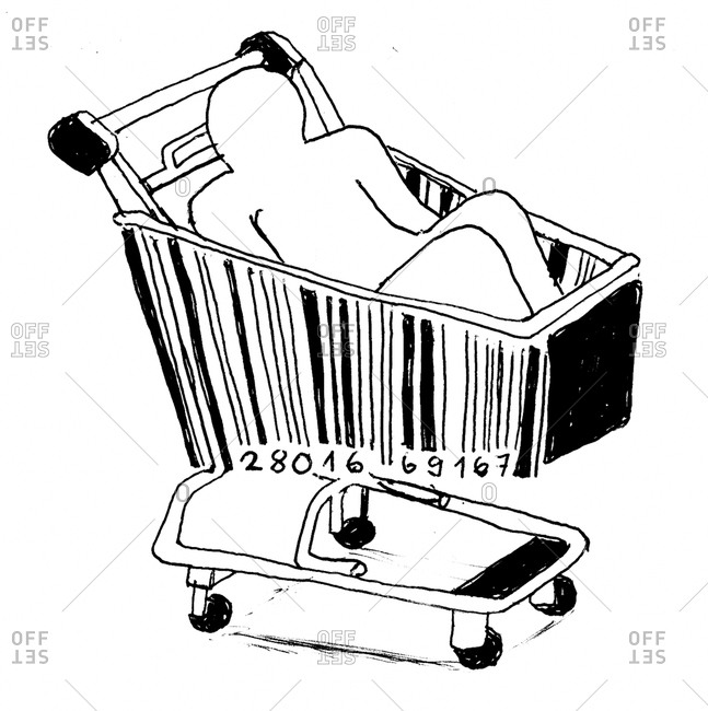 Person in a shopping cart