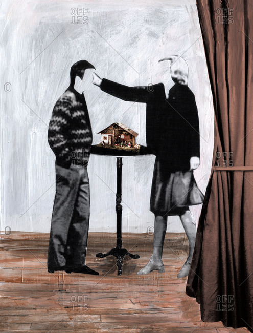 Woman stroking a man's face