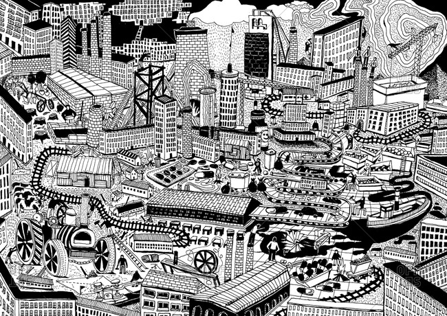 Illustration of a crowded city