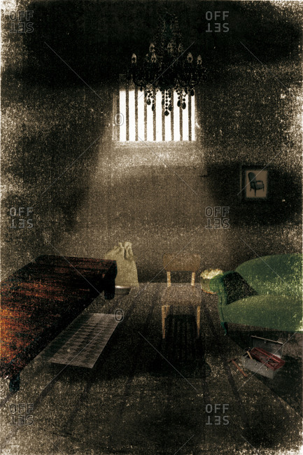 Interior of a dark bedroom