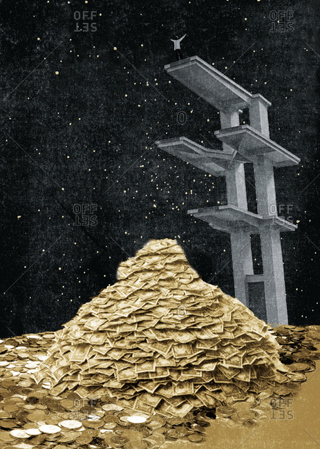 Man standing on a platform above a pile of money