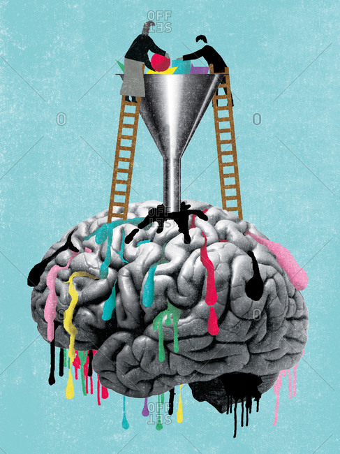 People filling up a brain with colorful objects