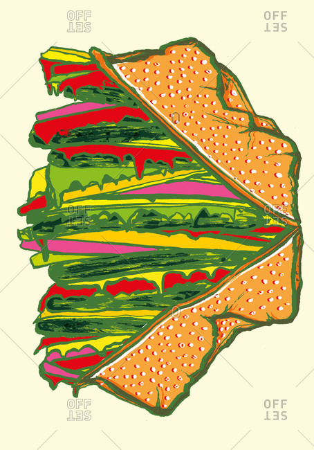 Illustration of a tasty hamburger