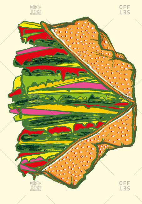 Illustration of a tasty hamburger