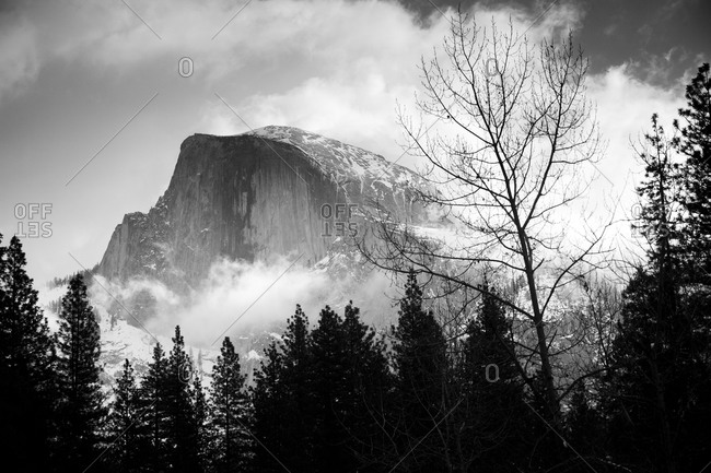 Yosemite's Half Dome in black and white is covered in snow