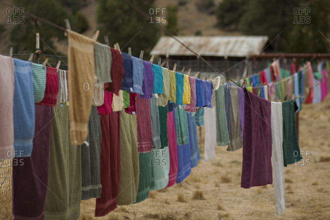 Clothesline full of multi-colored towels in northern California