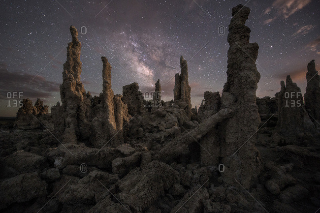 Moonlight shines it's last rays on the South Tufa area in California's famous Mono Lake