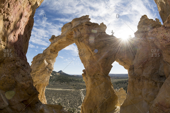 Grosvenor Arch and clouds, Grand Staircase Escalante National Monument, Tropic, Utah