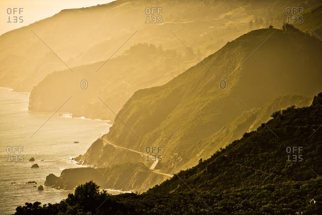 Sun sets on the coast of Big Sur, CA