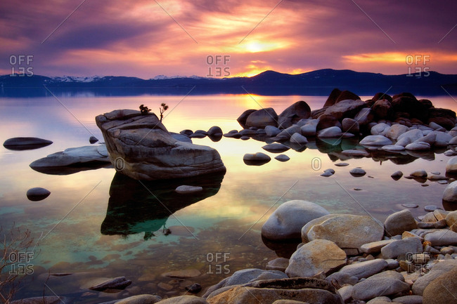Bonsai rock on the east shore of Lake Tahoe at sunset