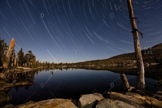 Star trails over Middle Velma Lake, Desolation Wilderness, Lake Tahoe