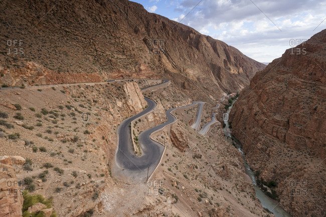 Very windy road in the Atlas Mountain, Morocco, North Africa