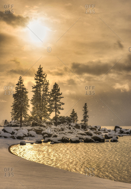 Early winter morning on Sand harbor, Lake Tahoe, Nevada